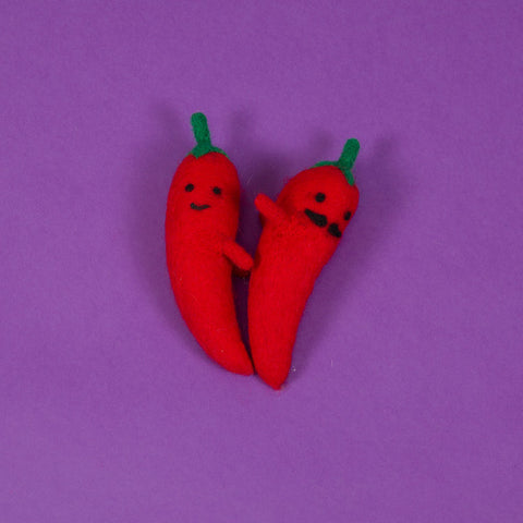 Wool Chili Pepper Pair - Acacia