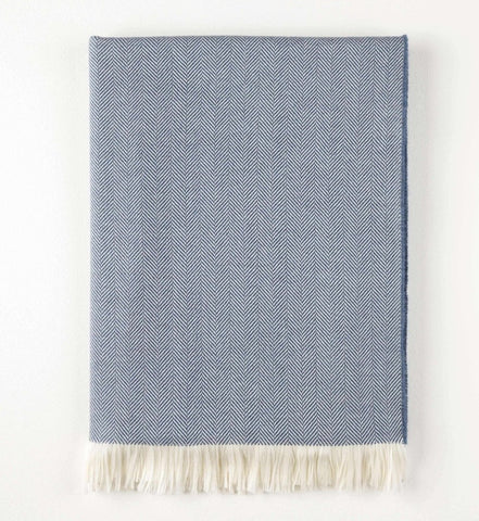 Denim Extra Fine Merino Wool Herringbone Throw - Acacia