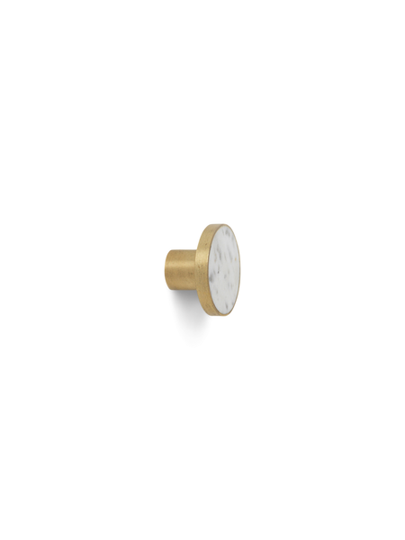 Ferm Living Brass and Marble Large Hook or Knob - white marble inset into brass round hook/knob, side view - Acacia