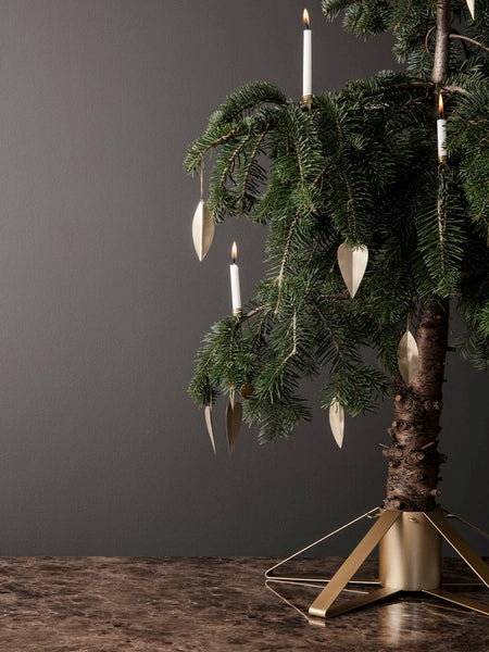 Ferm Living Christmas Tree Foot / Stand, Brass Color - Acacia