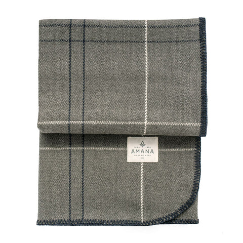 Heather Grey Merino Whipstitched Throw - Acacia