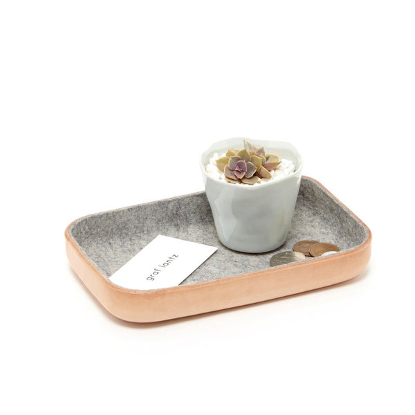 Kawabon Leather and Felt Catchall Trays, Granite - Acacia