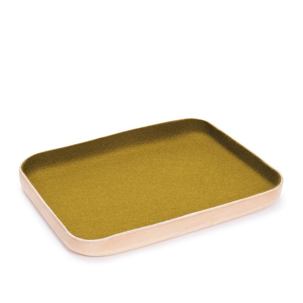 Kawabon Leather and Wool Trays, Golden Moss