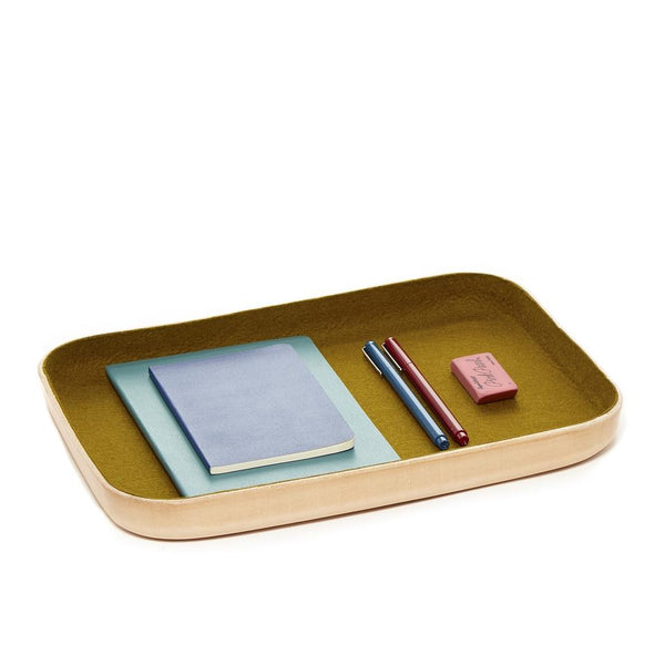 Kawabon Leather and Wool Trays, Golden Moss - Acacia