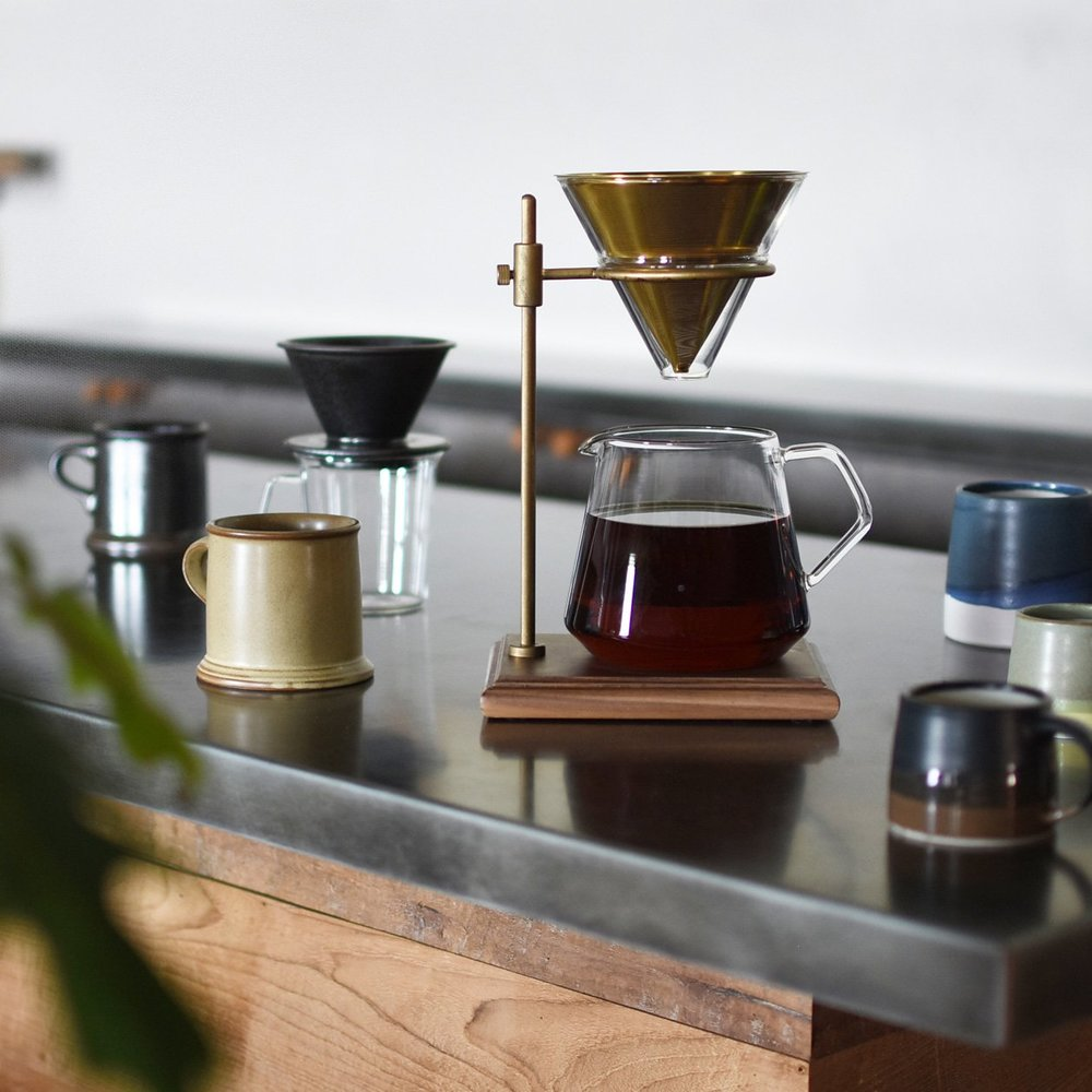 Coffee Brewer Set with Brass and Walnut Stand - Acacia