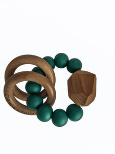 Hayes Silicon and Wood Teether Ring, Peacock