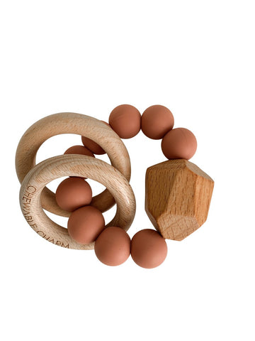 Hayes Silicon and Wood Teether Ring, Zion Sand