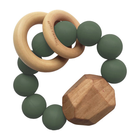 Hayes Silicon and Wood Teether Ring, Kale