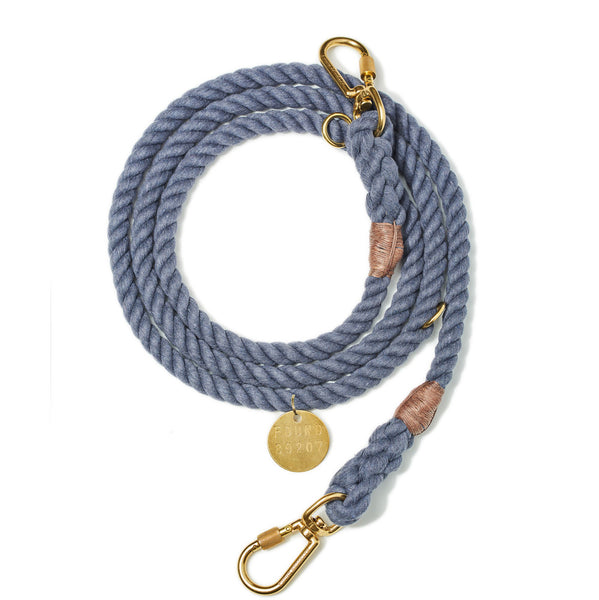 Upcycled Adjustable Rope Leash, Blue Jean