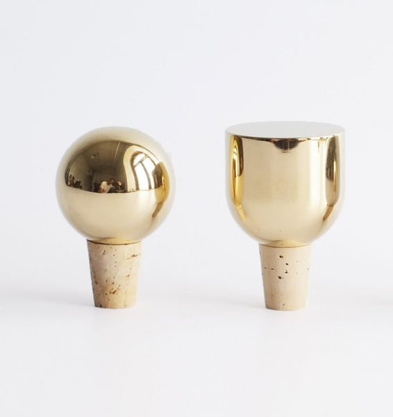 Brass Wine Stopper - Acacia