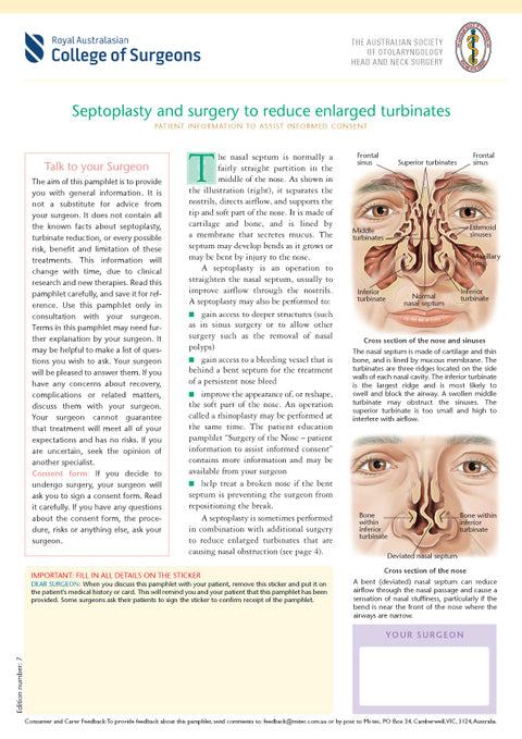 Septoplasty and Surgery to Reduce Enlarged Turbinates