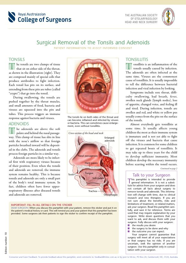 Surgical Removal of the Tonsils and Adenoids