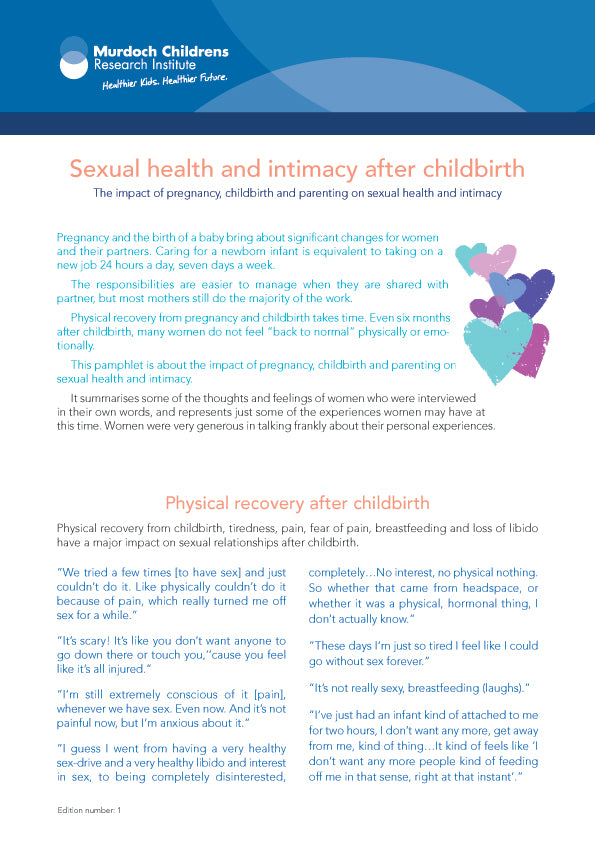 Sexual Health and Intimacy after Childbirth