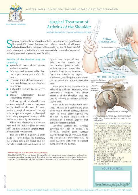 Surgical Treatment of Arthritis of the Shoulder