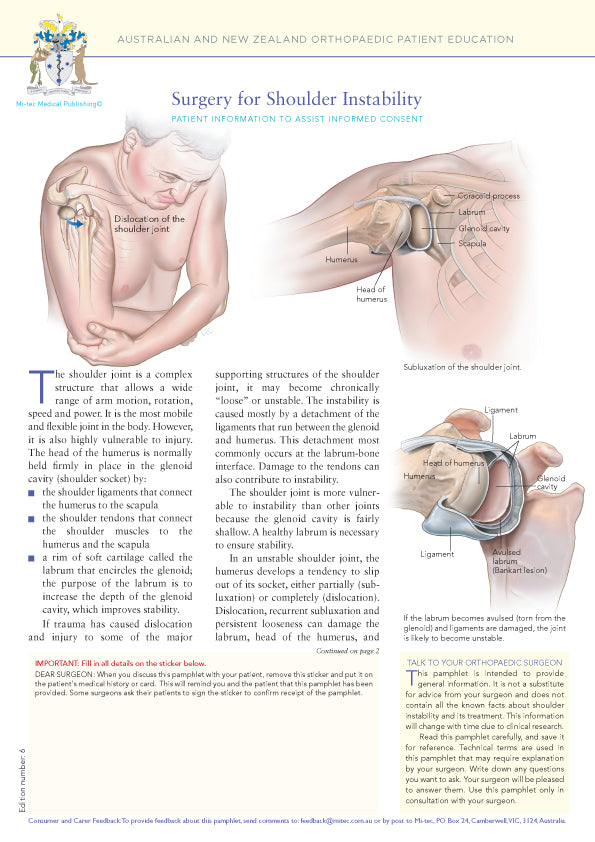 Surgery for Shoulder Instability