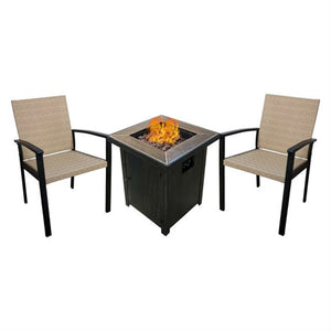 3-Piece Propane Fire Set with Patio Chairs