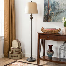 Load image into Gallery viewer, 3-Piece Floor Lamp and Table Desk Lamp Set in Black with Light Gold Drum Shades