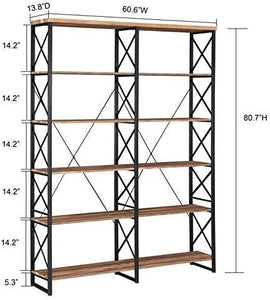Wood & Iron Large 6-Shelf Bookshelf