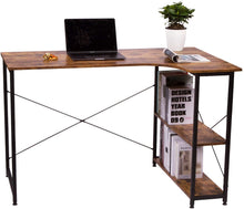 Load image into Gallery viewer, Wood & Iron Small L-Shaped Desk