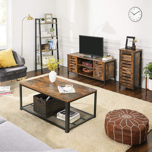 Wood & Iron TV Stand Console Unit with Doors