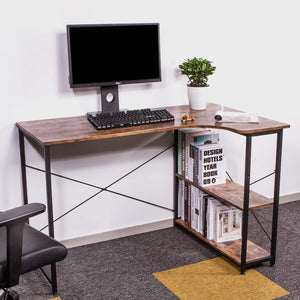 Wood & Iron Small L-Shaped Desk