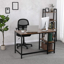 Load image into Gallery viewer, Wood & Iron Large Desk with Side Shelves