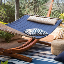 Load image into Gallery viewer, Blue 2-Person Quilted Hammock with Durable Wood Frame Stand