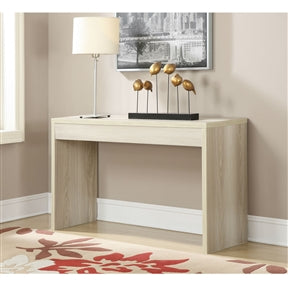 Contemporary Sofa Table Console Table in Weathered White Wood Finish