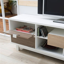 Load image into Gallery viewer, Modern 70-inch White TV Stand Entertainment Center with Natural Wood Accents