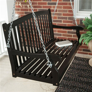 Eco-Friendly 4-ft Black Wood Porch Swing