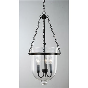 Glass Lantern Chandelier in Antique Copper Finish