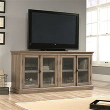 Load image into Gallery viewer, Salt Oak Wood Finish TV Stand with Tempered Glass Doors - Fits up to 80-inch TV