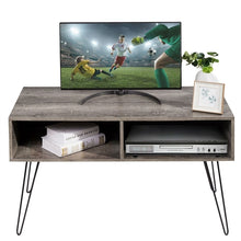 Load image into Gallery viewer, Modern TV Stand in Oak Wood Finish with Metal Legs