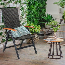 Load image into Gallery viewer, Outdoor Heavy Duty Folding Rattan Patio Chair with Wood Armrest