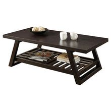 Load image into Gallery viewer, Contemporary Coffee Table with Slatted Bottom Shelf in Rich Brown