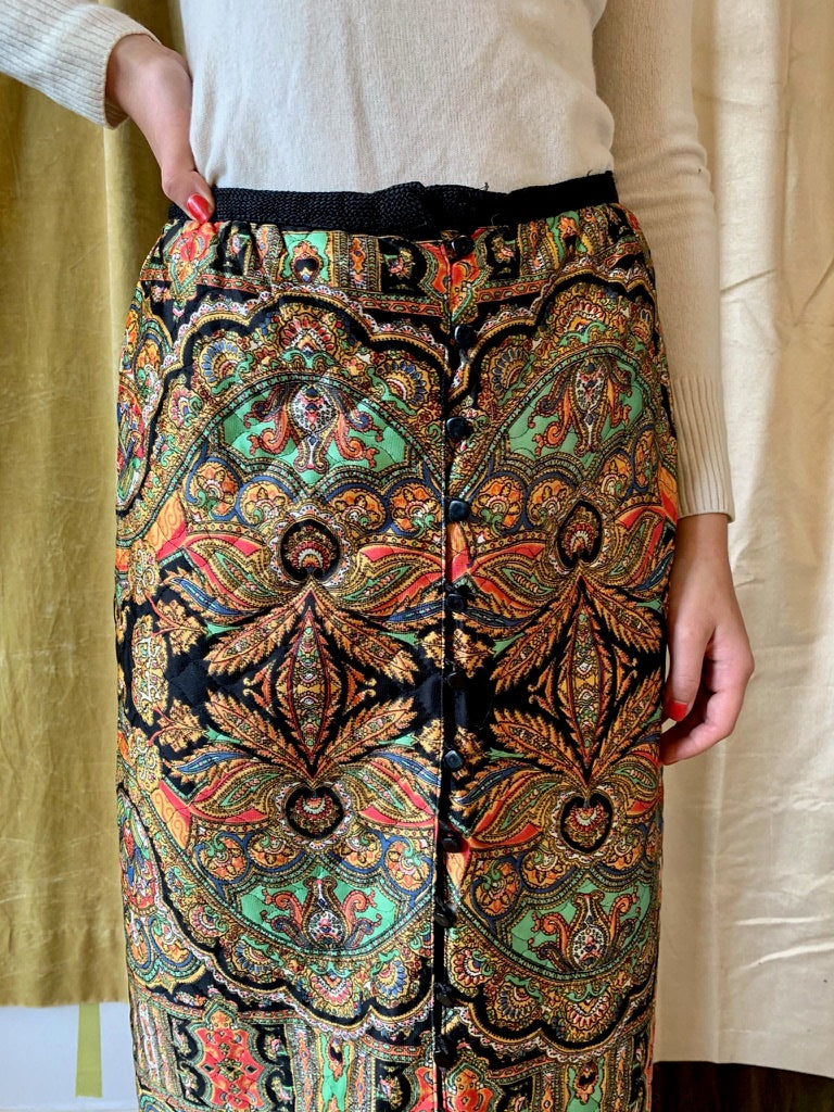 1970's Quilted Pencil Skirt