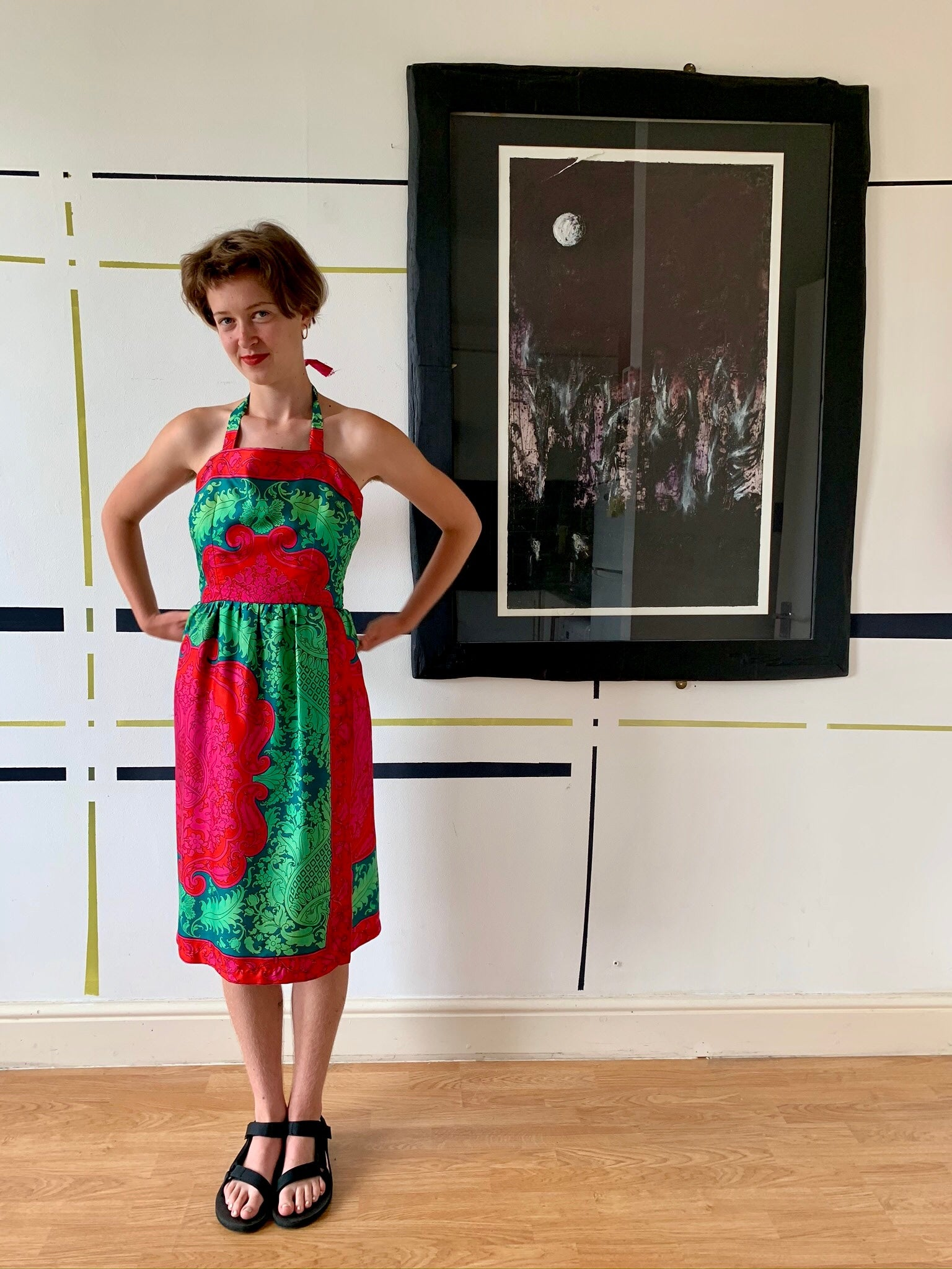 Early 1950s Silk Printed Halter Dress