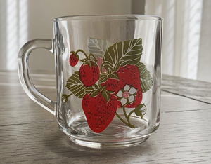 Glass Strawberry Mugs
