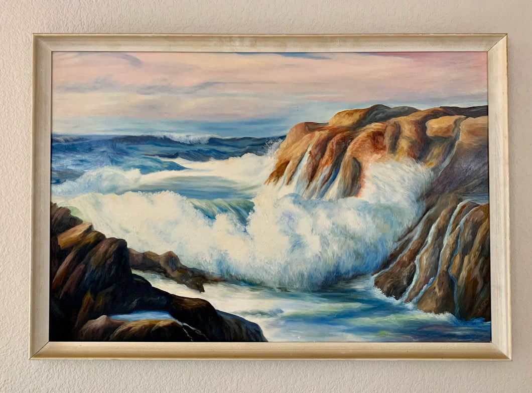 Framed Seascape Painting by WM B. Cade