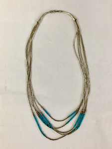 Handmade Silver and Turquoise Beaded Necklace