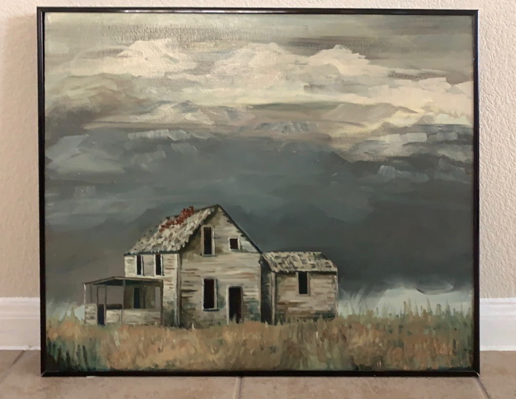 1984 Original Rustic Painting of House in Field