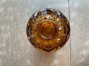 Amber Glass Candle Holder with Lid
