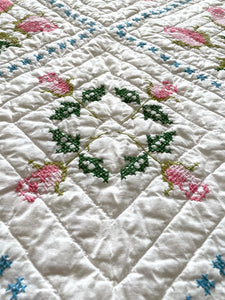 Embroidered Roses Twin Quilt