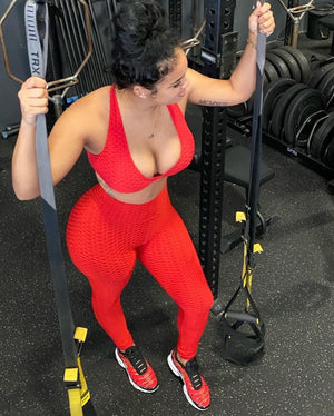 Red Honey Comb Sports Bra
