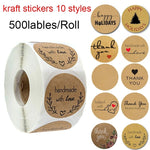 500 Labels per roll Round Natural Kraft Thank You Stickers seal labels Hand Made With Love Stickers Paper Stationery sticker