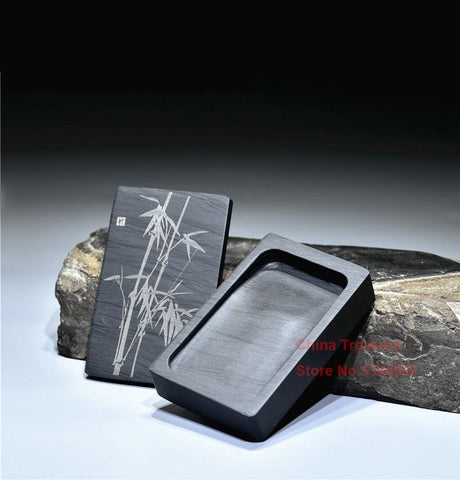 Chinese Inkstone Rectangle Calligraphy Ink stone student ink stone with cover Inkstone Grinding Made of Natural stone
