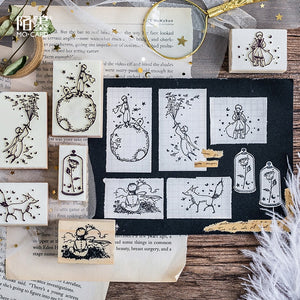 1pc little Prince stamps Wood clear stamps DIY scrapbooking decoration clear stamps rose fox Creative seal kawaii