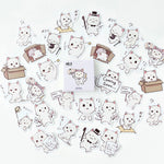 45PCS/box Cute Meng Cats Diary Paper Lable Sealing Stickers Crafts And Scrapbooking Decorative Lifelog DIY Stationery