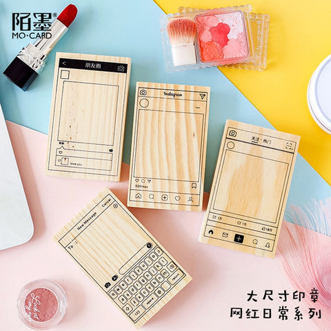 Daily Series Rubber Seal Wood Stamps For Scrapbooking Stamps Decoration DIY Stationery Support Kawaii Ins Wechat Bullet Journal