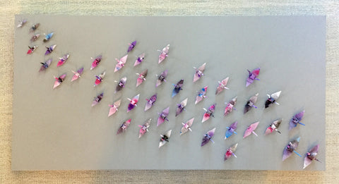 Hand Dyed Paper 46 Cranes on Grey Canvas